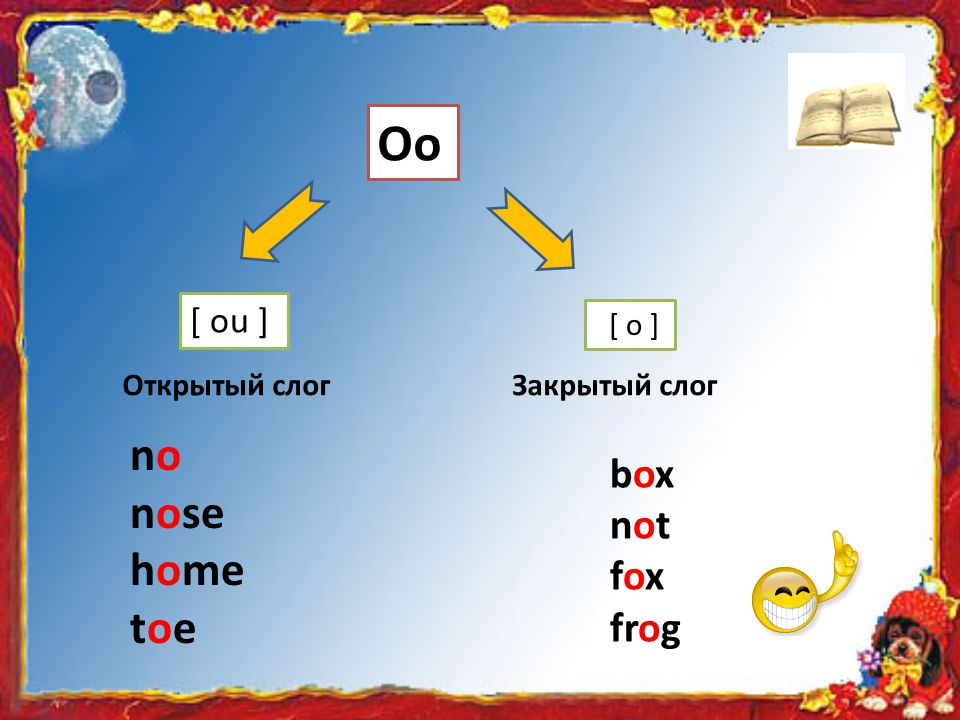 Oo no nose home toe box not fox frog [ ou ] [ о ] Открытый слог